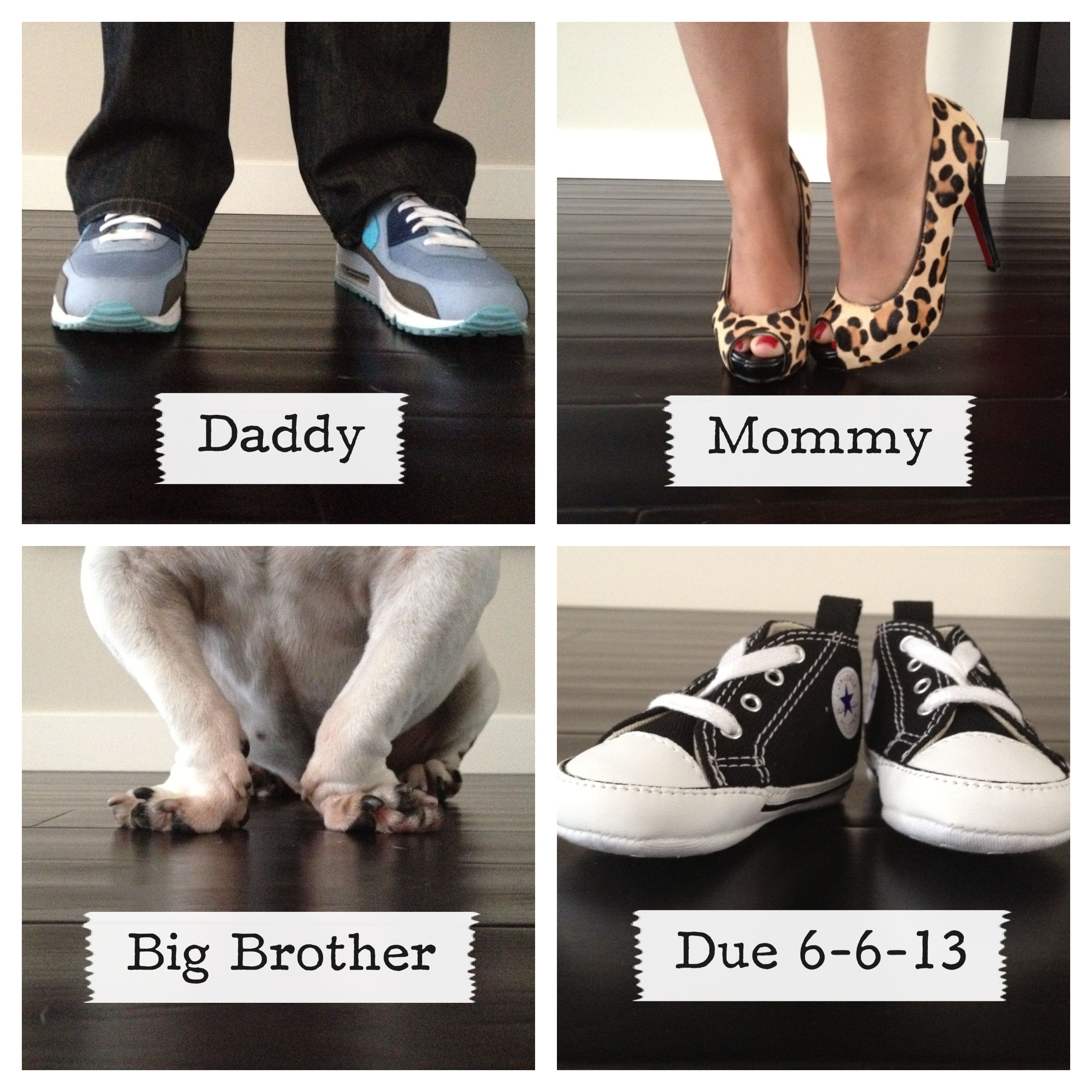 Our Baby Announcement Perfect I love shoes Preggers