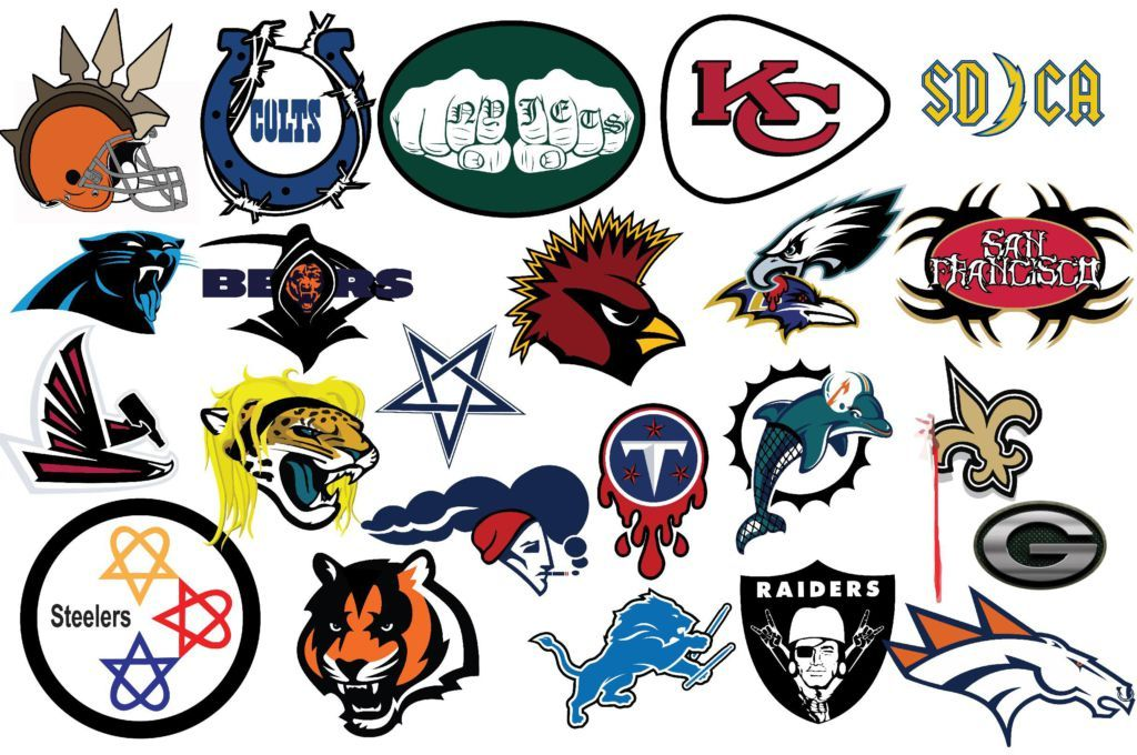 Nfl logos redesigned in a metal style logo redesign