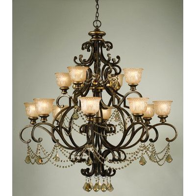 LightInTheBox Antique Painting Finish Black Iron 6 Lights Rustic Chandelier Lighting Glass Shade Pendent Light Voltage=110 120V