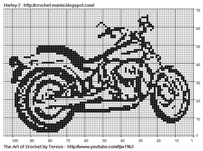 Crochet Patterns MOTORCYCLE Color Graph Pattern