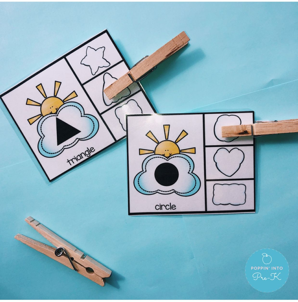 Cloud Shape Match Clip Cards