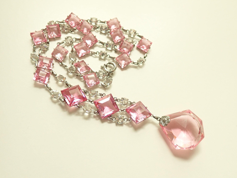Pink Czech Rhinestone Vintage Jewelry