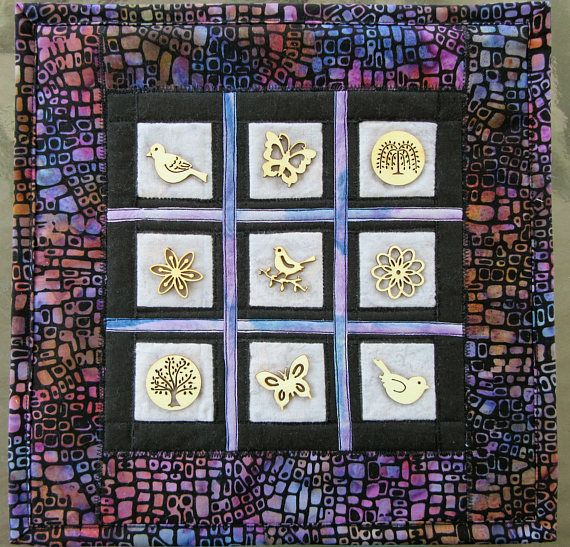 Wood Button Collage, Fabric Art Quilt, Quilted Wall Hanging, Wall ...