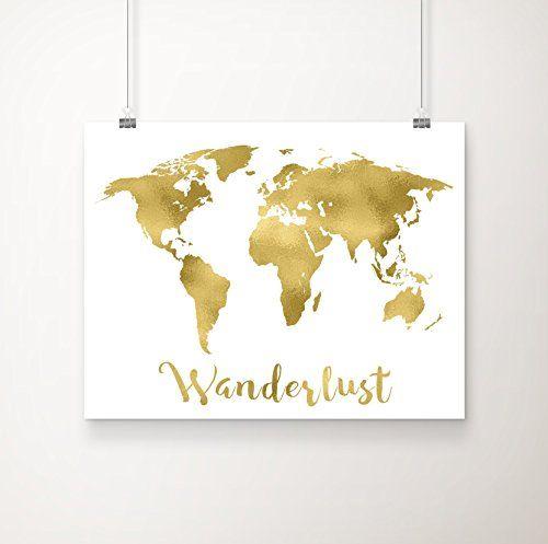 Wanderlust world map gold foil art print 11 inches x 14 inches wanderlust world map gold foil art print 11 inches x 14 inches pranaprints http gumiabroncs Gallery