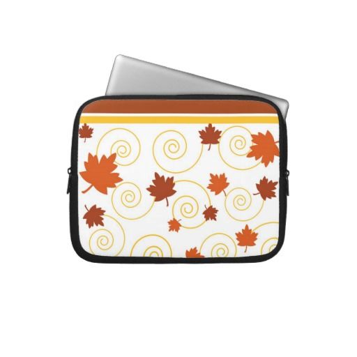 Autumn leaves and spiral laptop computer sleeves