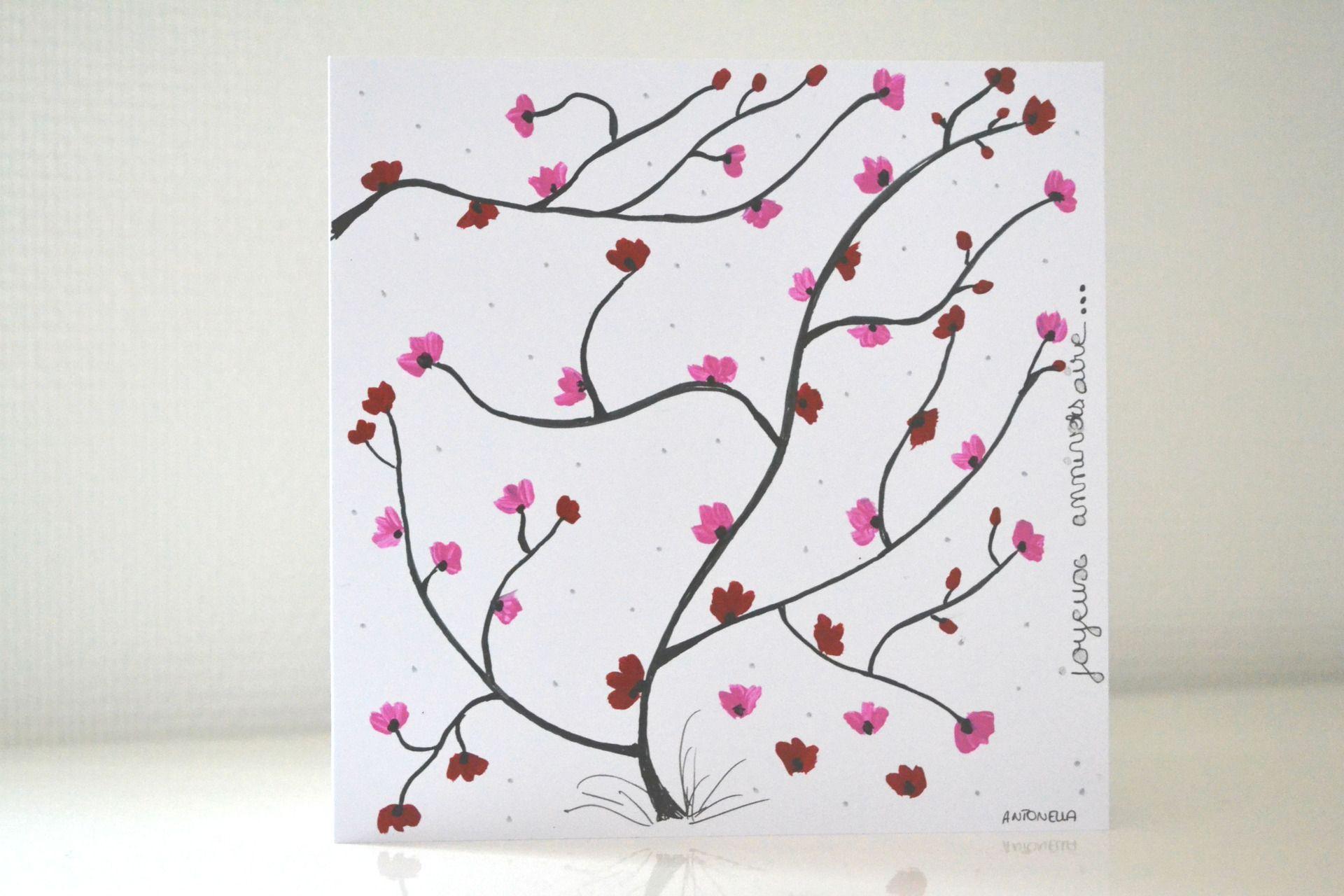 carte anniversaire fleurs de cerisier carte anniversaire femme carte d 39 art peinte la main. Black Bedroom Furniture Sets. Home Design Ideas