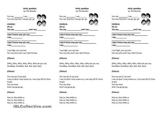 Beatles Song Hello Goodbye Esl Worksheets Arbeitsbltter