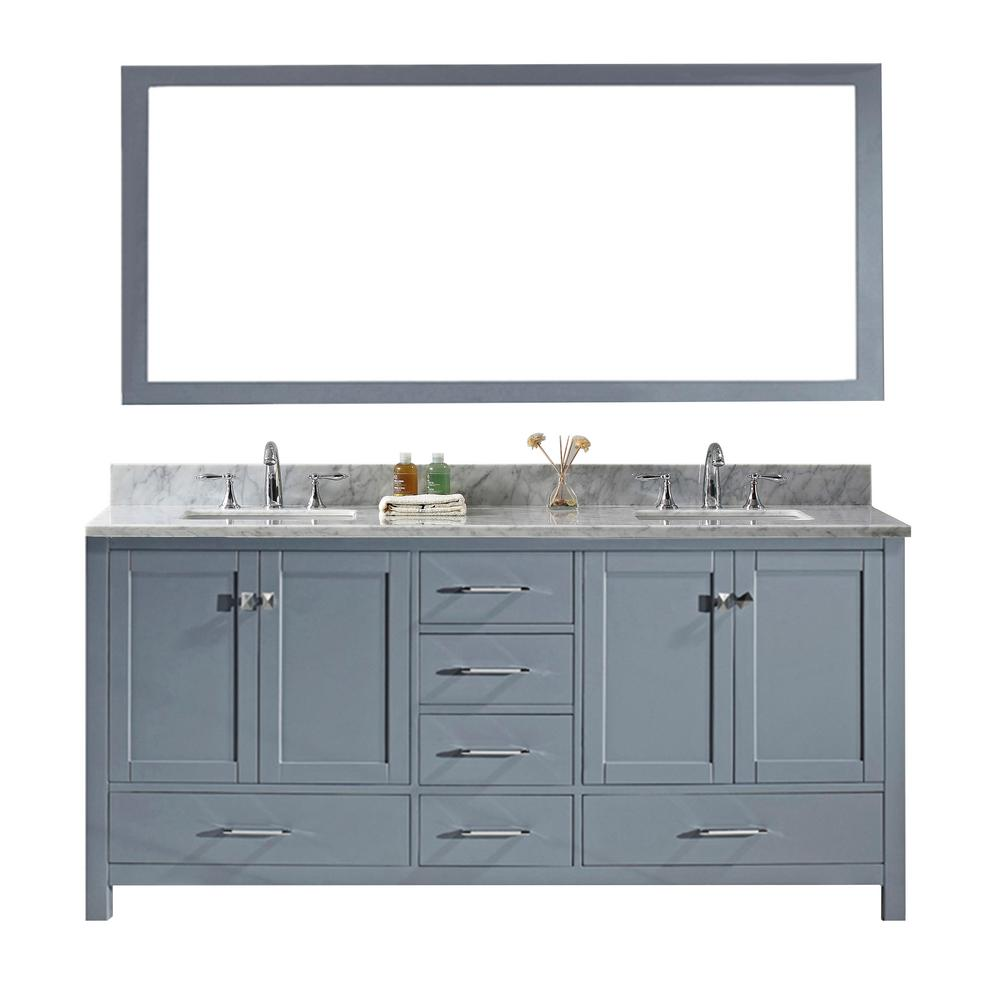 Virtu Usa Caroline Avenue 72 In W Bath Vanity In Gray With Marble Vanity Top In White With Square Basin And Mirror Gd 50072 Wmsq Gr The Home Depot Marble Vanity Tops Vanity
