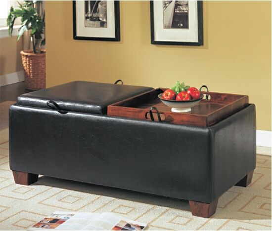 Espresso Vinyl Ottoman Storage Bench With Flip Top Tray Cushions This Comes 2 Removable Seat That Over To Be Used As Wood