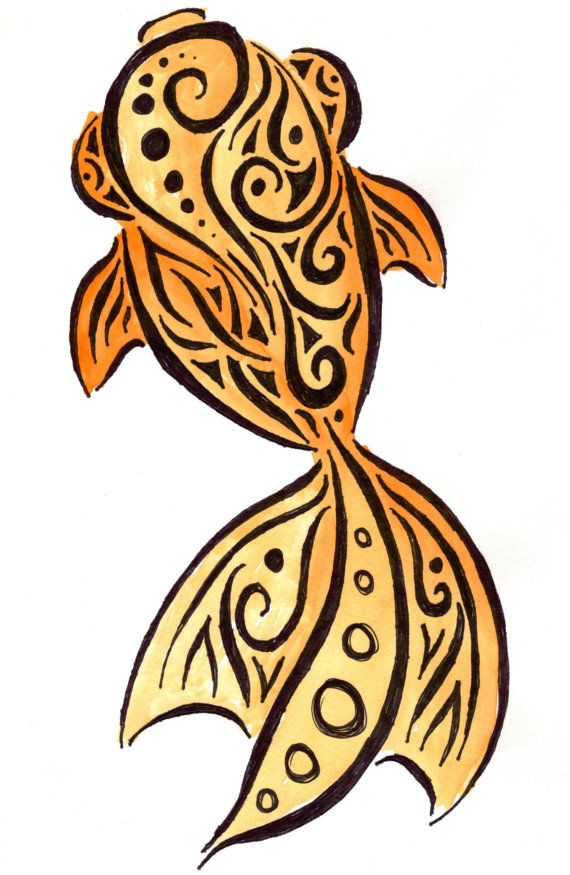 Tribal Gold Fish  Print 8x10 by PrimalCreatures on Etsy, $15.00