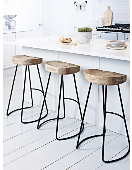 Solid Oak Kitchen Stools With Fy Contoured Seat