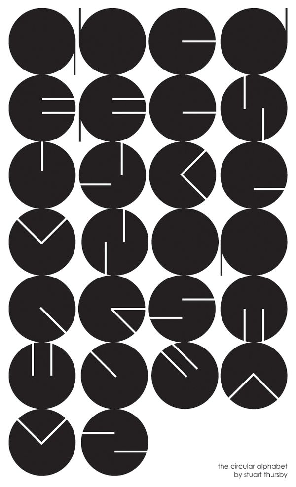 the circular alphabet by Stuart Thursby - my question is, Aren't the M and the Y the same?