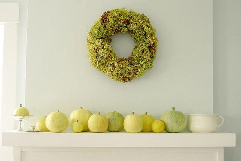 Green pumpkins on mantel
