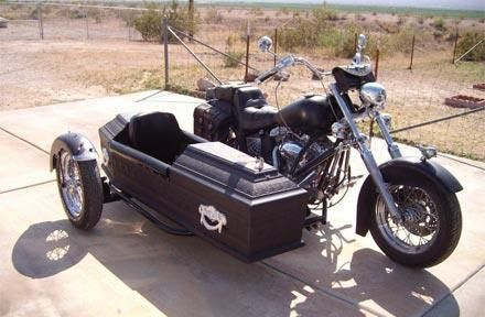Motorcycle With A Coffin Sidecar Ohmigoth Sidecar