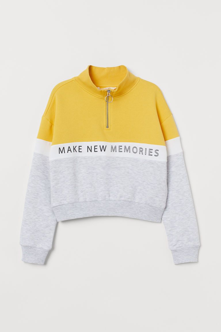 Boxy Sweatshirt Yellow Color Block Kids H M Us Cute Casual Outfits Hoodie Fashion Girls Fashion Clothes [ 1152 x 768 Pixel ]