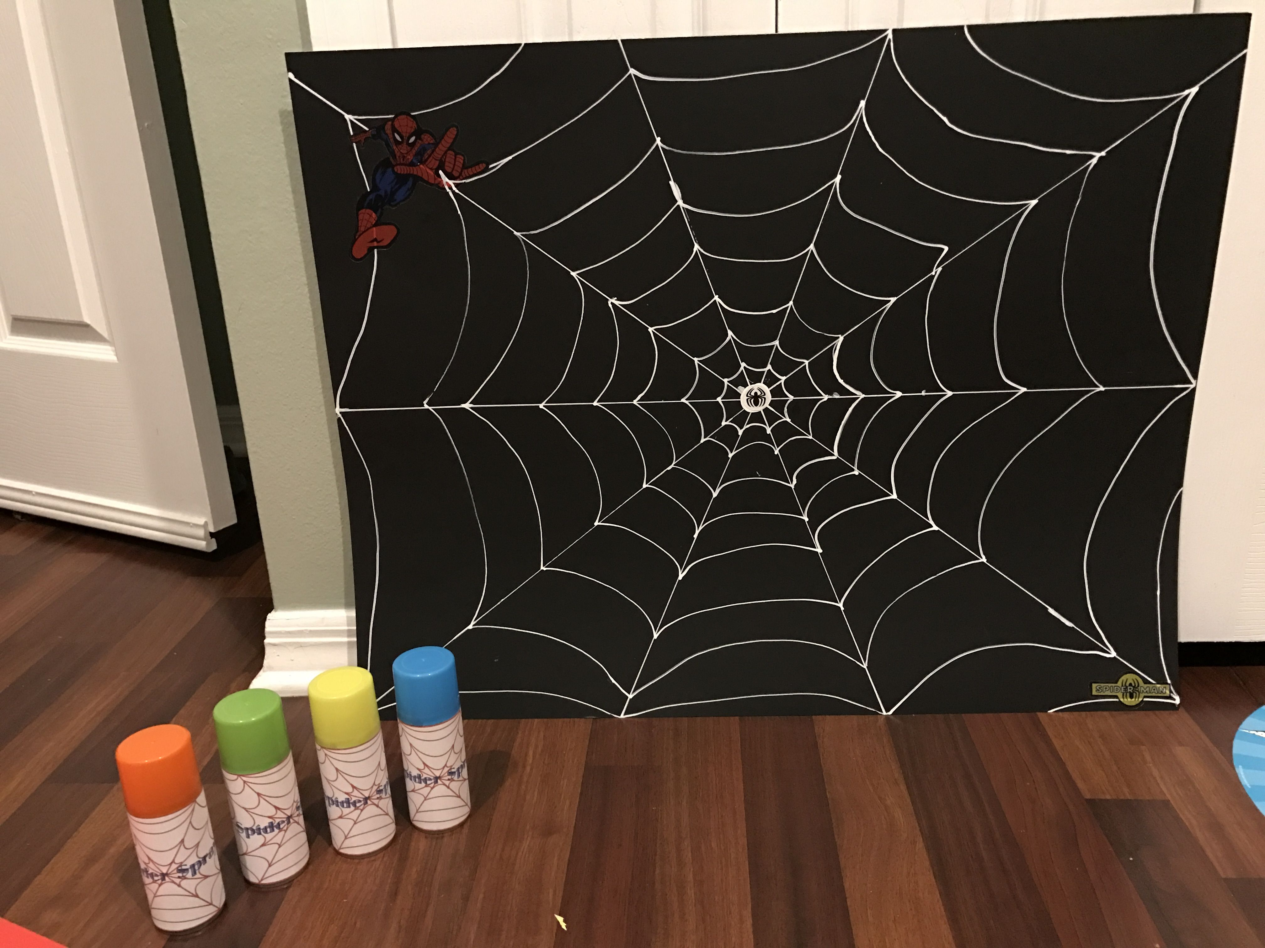 How To Make A Giant Spider Web Black Poster Board And White Out Pen To Make Web With Spider Man