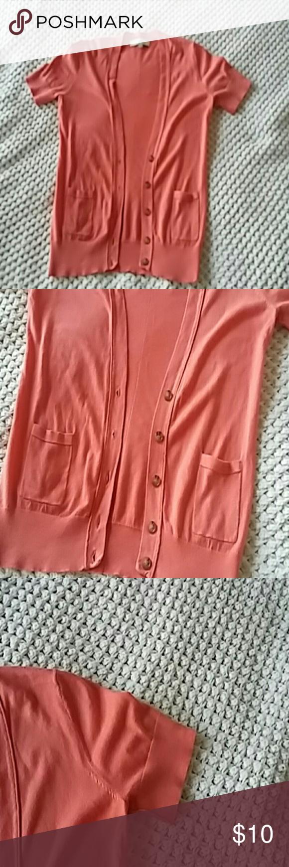 3/$15 LOFT Coral Cardigan | Coral cardigan, Lofts and Short sleeves