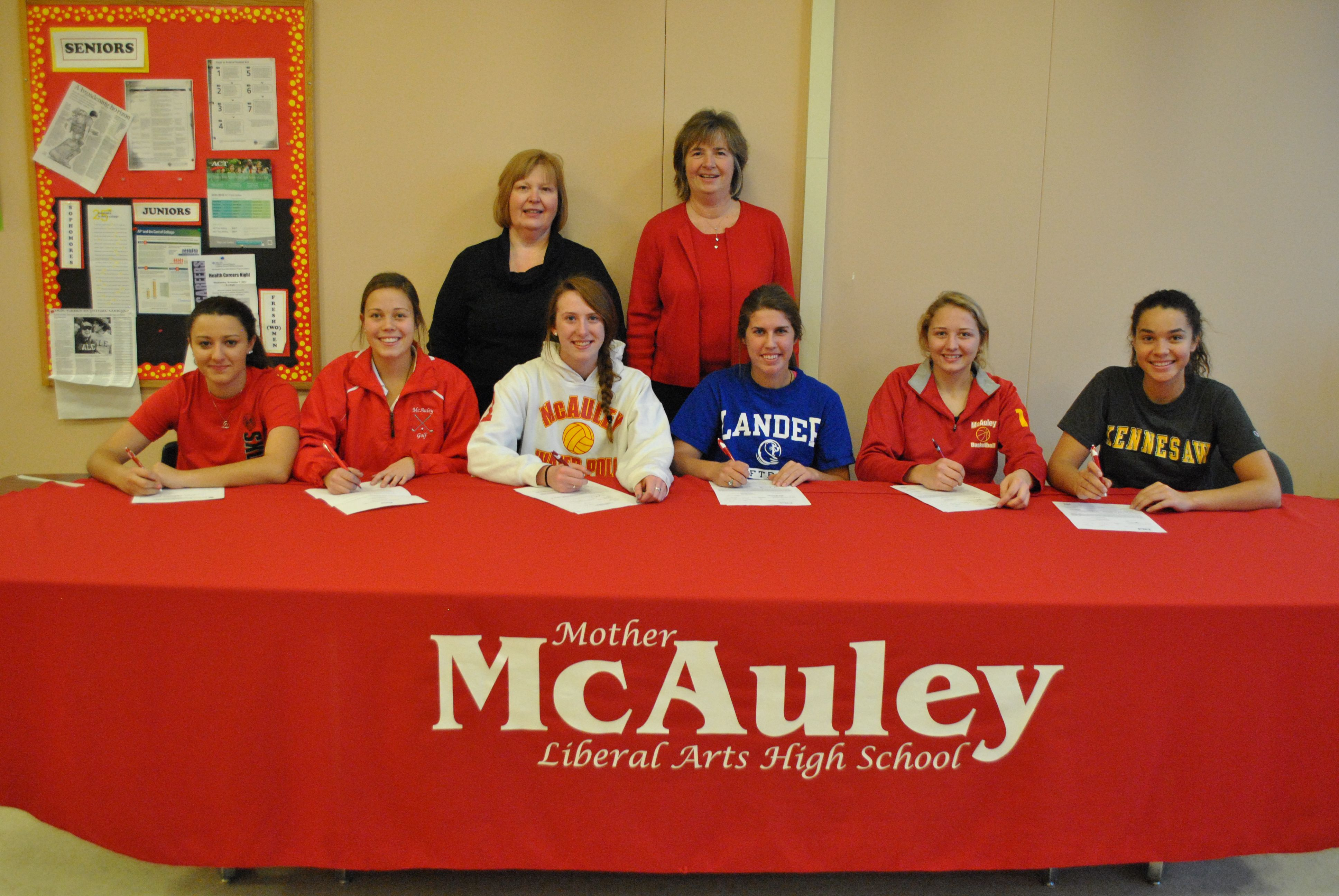 On National Signing Day 6 Mcauley Seniors Signed A Binding Letter Of Intent For Their Respective Lewis University Chicago University Kennesaw State University