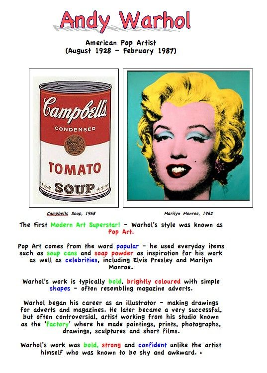andy warhol artist fact sheet for kids art education essentials pinterest kunstunterricht. Black Bedroom Furniture Sets. Home Design Ideas