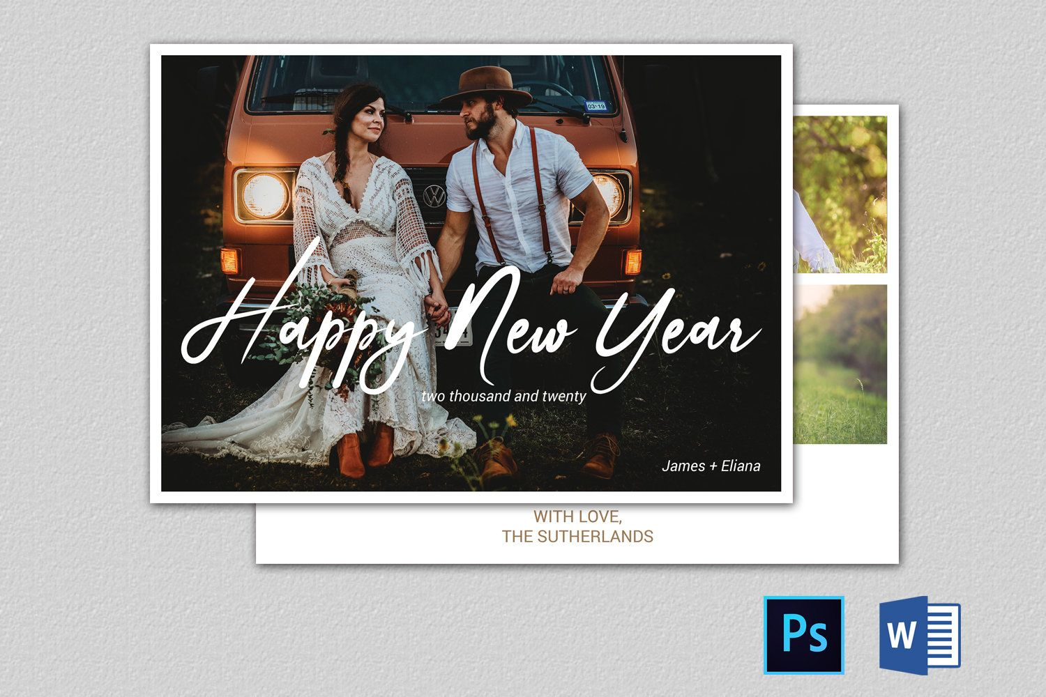 new year greeting card in ms word