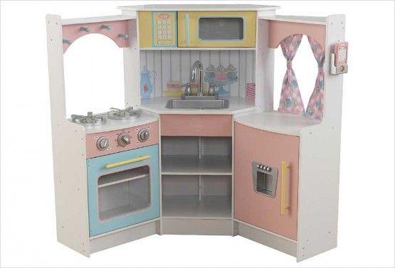 cuisine d'angle pastel enfant kidkraft | cuisines en bois pour