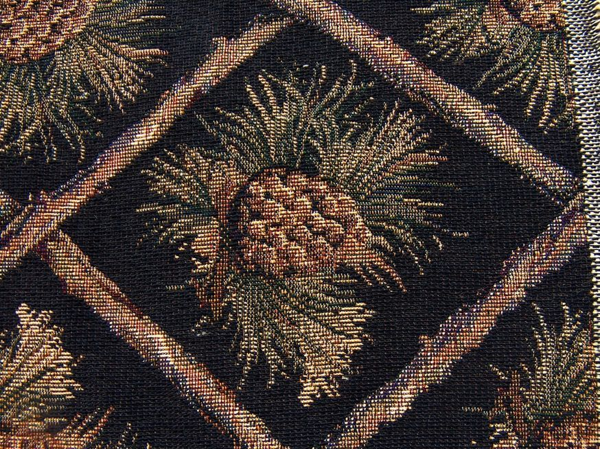 Rustic Pine Cone Black Tapestry Upholstery Fabric Close Up View