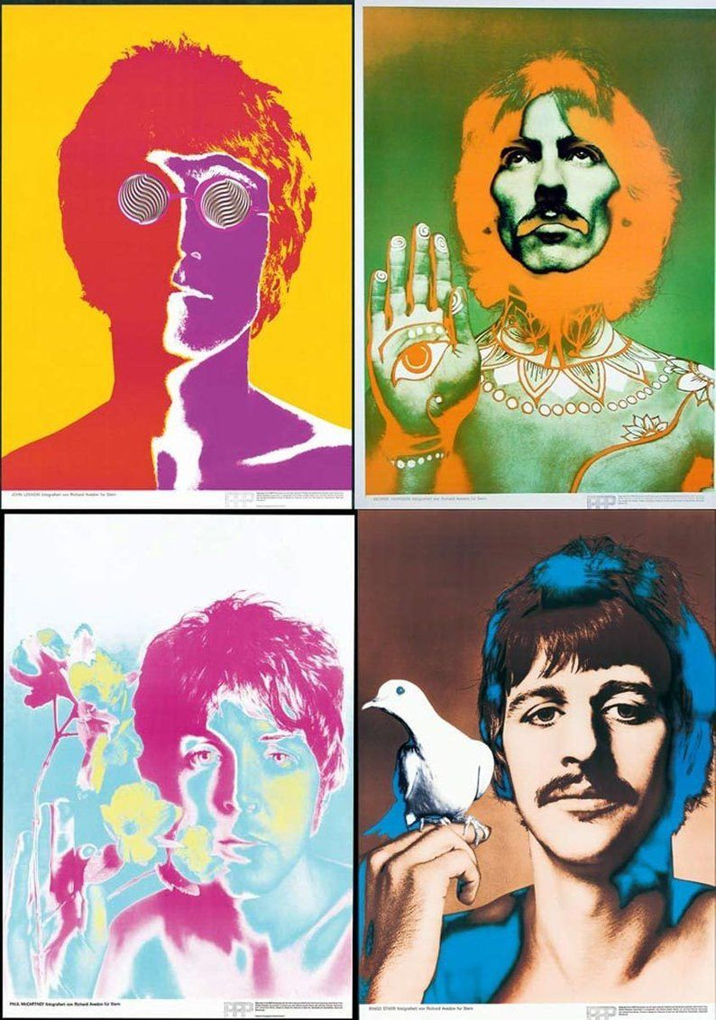 The Beatles by Avedon 1967/8 Original set of 4 posters mounted ...