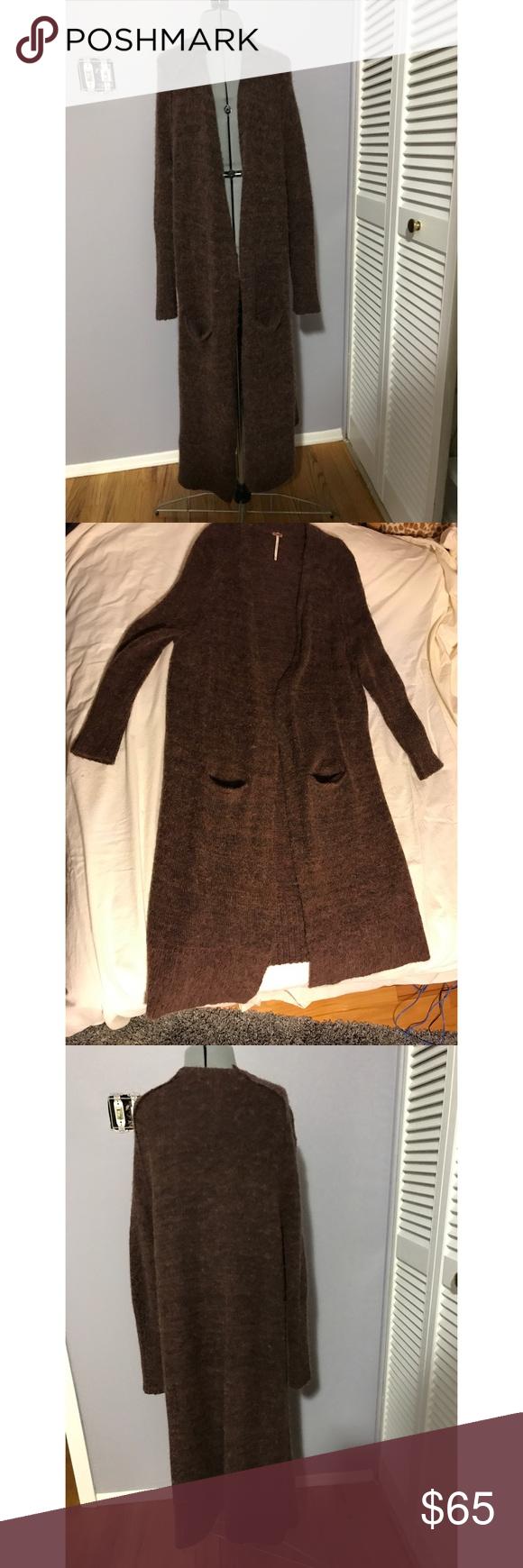 Free People Long Brown Sweater Cardigan Coat