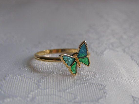 Vintage Enamel Butterfly Ring