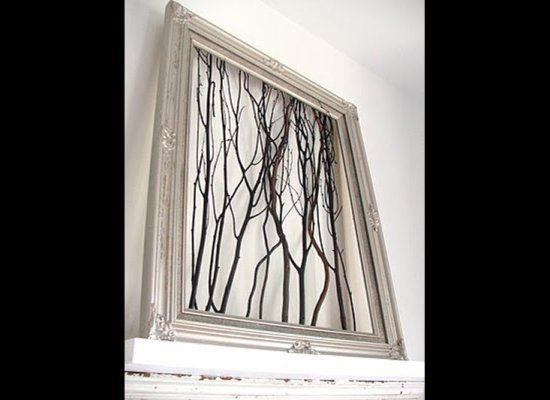diy tree branch wall piece  might spray paint them white
