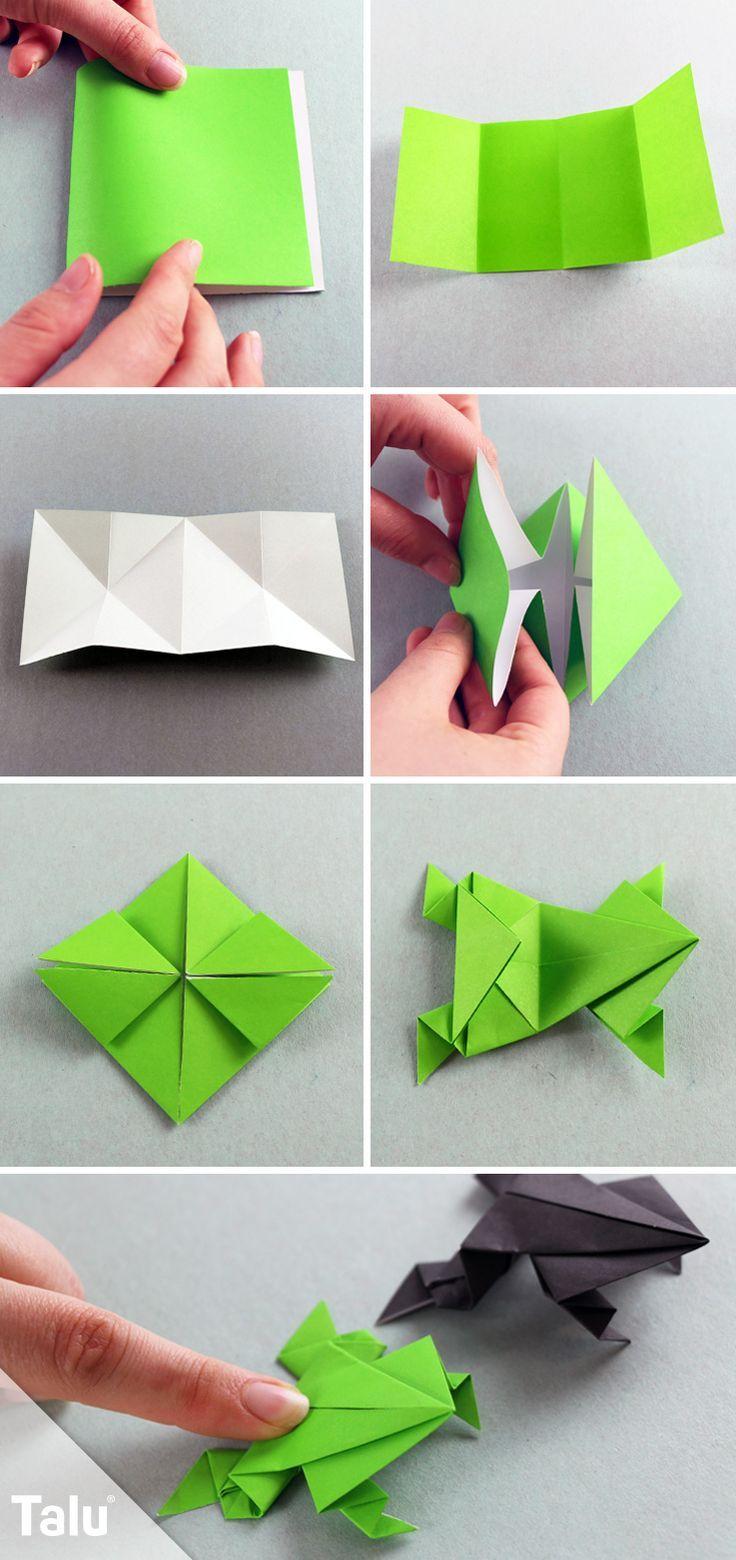 Origami Frosch falten - aus Papier/Geldschein basteln - Talu.de #origamianleitungen