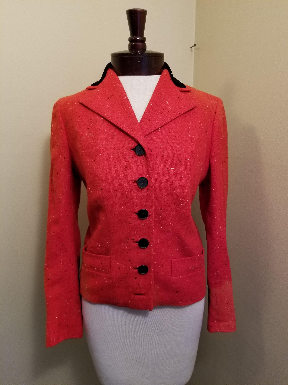 Pink and Black Tweed 1940s Suit Jacket