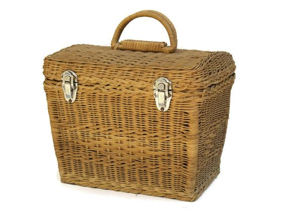 French Basket. Small Picnic Basket. Vintage by LeBonheurDuJour