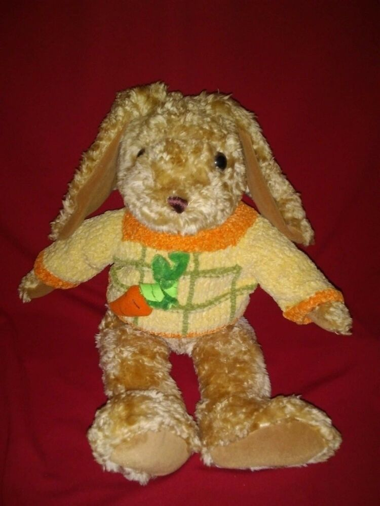 """17"""" Fine Toy Gold Orange Bunny Rabbit with Carrot Sweater"""