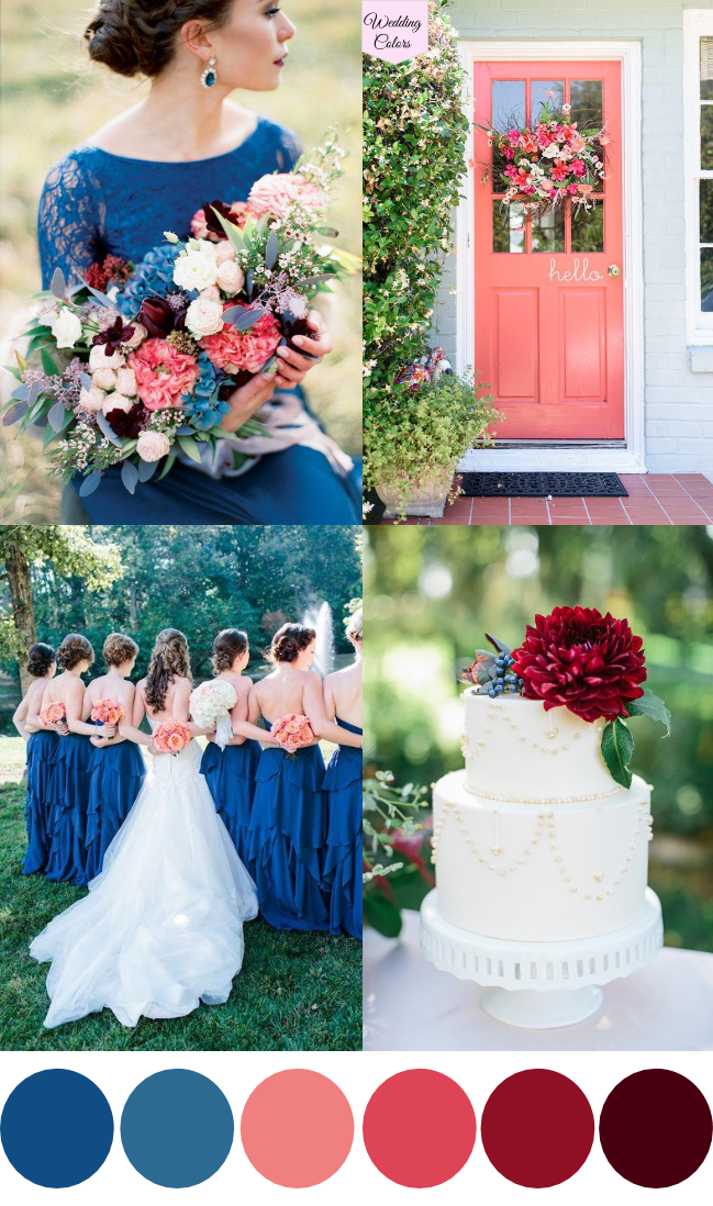 Image result for royal blue and coral wedding