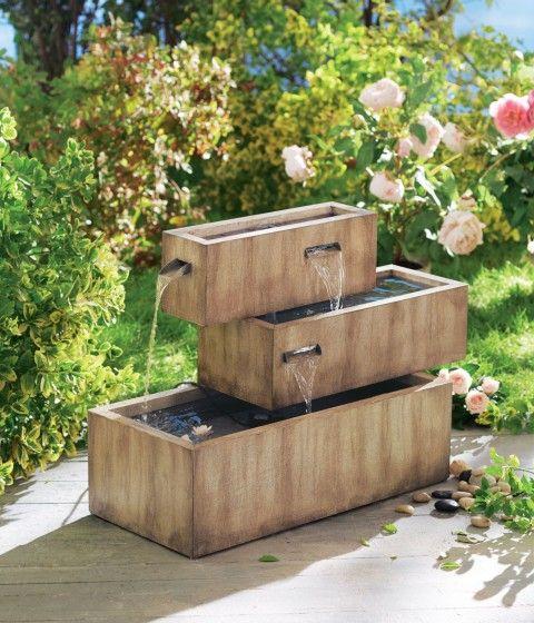 brunnen für garten, wasserbrunnen garten, terrassenbrunnen - gartendeko aus stein und metall