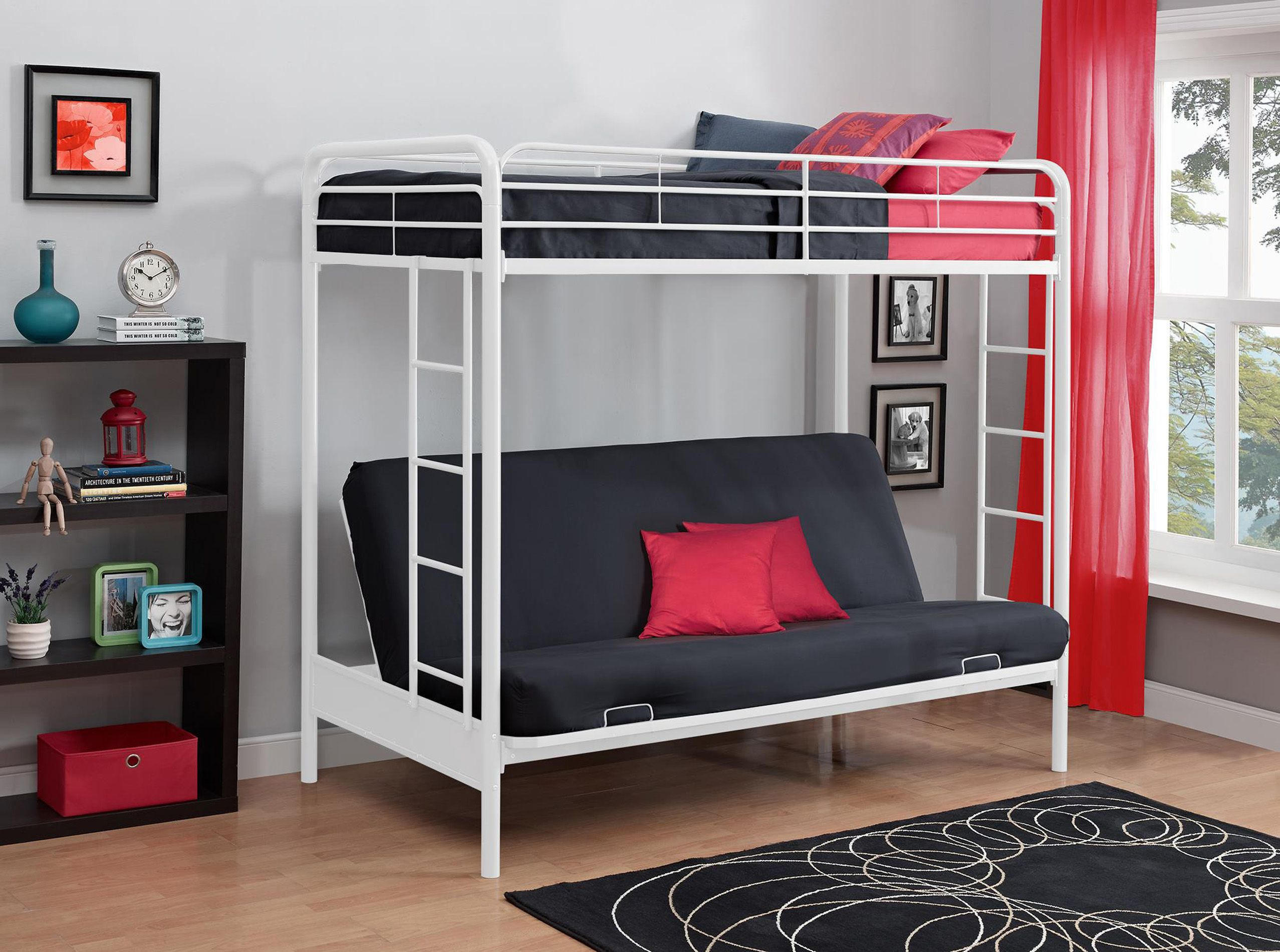 Dorel Home Furnishings Twin Over Futon Metal Bunk Bed Multiple