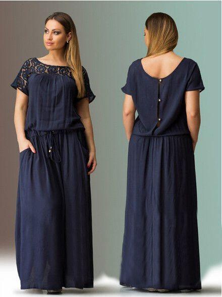 596638732d Short Sleeve Lace summer Dress big sizes new women summer Plus Size long  dress maxi party dress vintage vestidos L-5XL