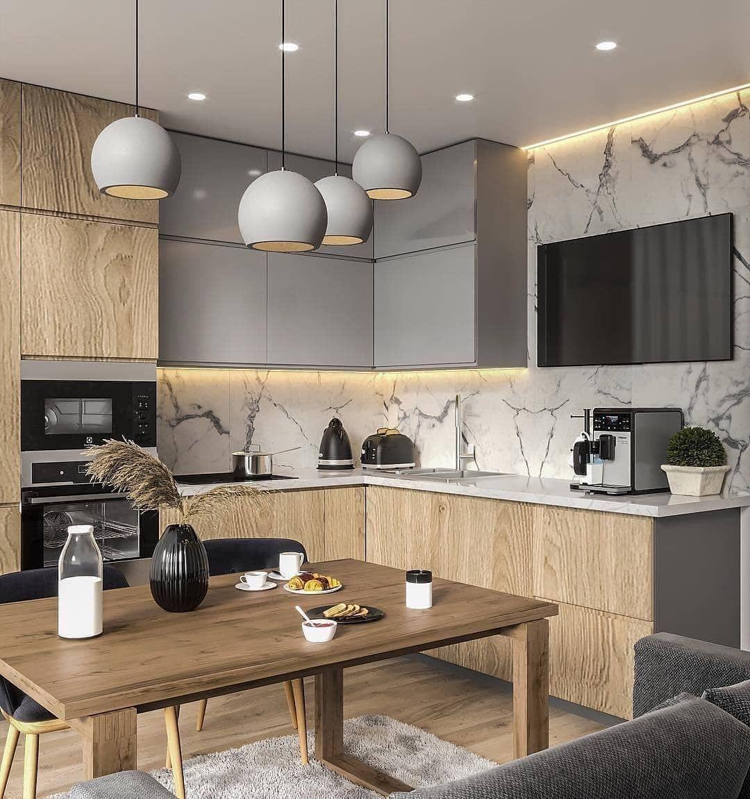 Photo of Eine schöne zweifarbige Küche mit Marmor. Wie bewerten Sie e…