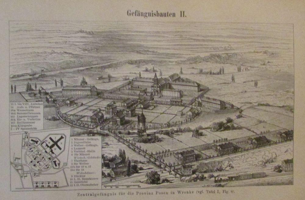 1898 GEFÄNGNISBAUTEN I. II. Gefängnis Posen Original Druck Antique Print Litho