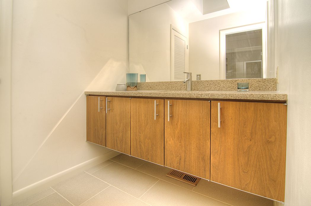 Floating vanity, grain-matched