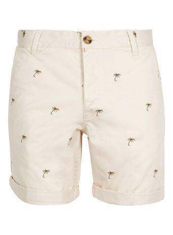 Cream Palm Tree Chino Shorts - Mens Shorts - Clothing