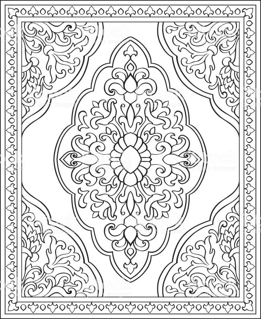 Oriental Abstract Ornament Template For Carpet Shawl Textile In 2020 Ornamente Vorlagen Schablonen Grafiken
