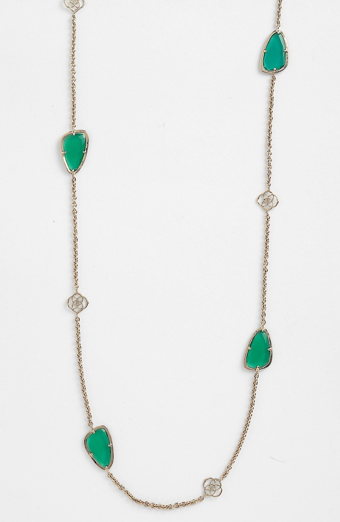 7ded50afc Kendra Scott Kinley Long Station Necklace with Logos, Gold and Green. Get  the lowest price on New! Kendra Scott Kinley Long Station Necklace with  Logos, ...