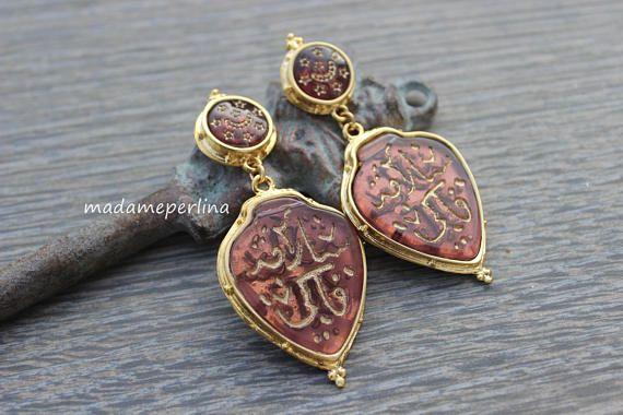 Turkish earrings stud earrings Gold plated brass Labradorite Earrings Ottoman Earrings gemstone earrings statement earring