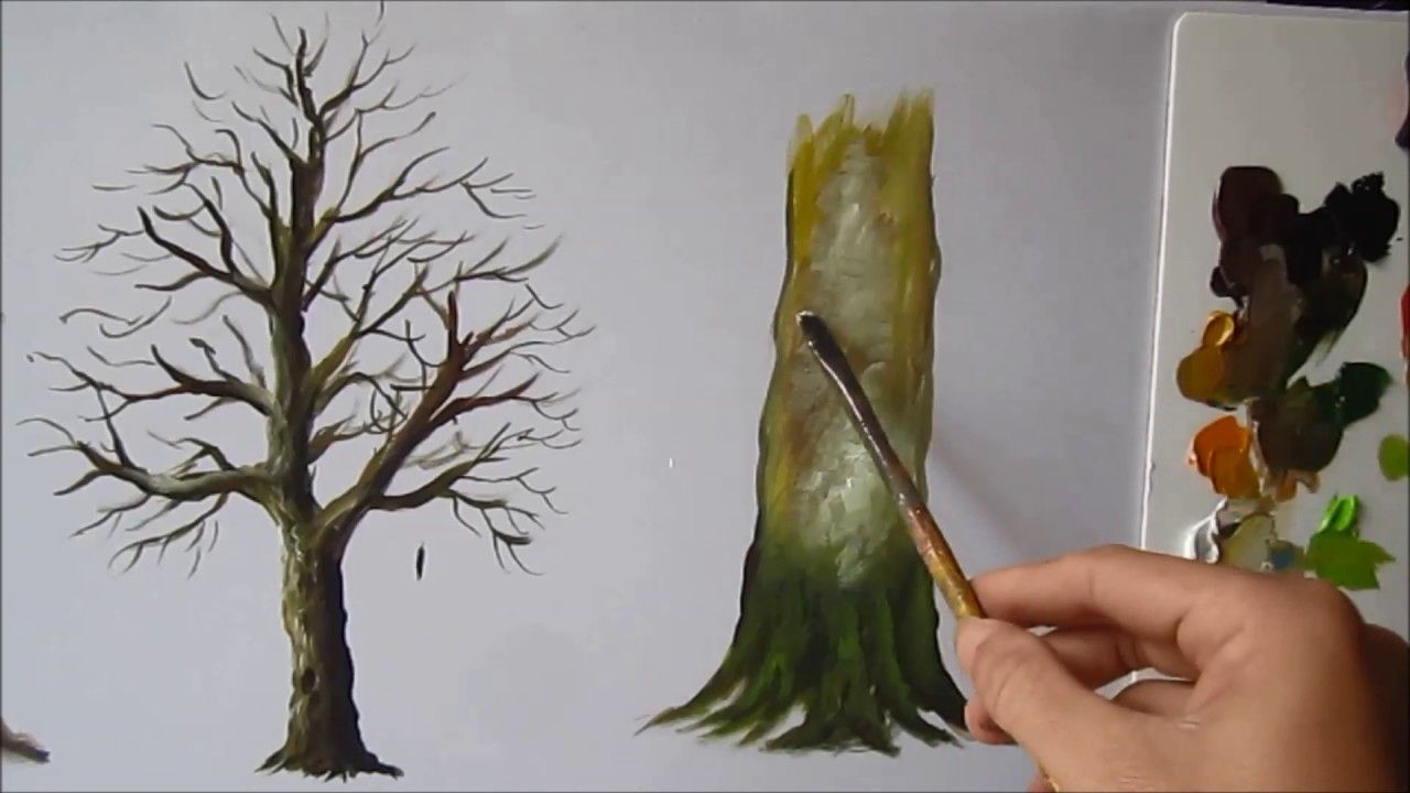 How To Paint A Tree Trunk Lesson 3 Tree Trunk Painting Oil