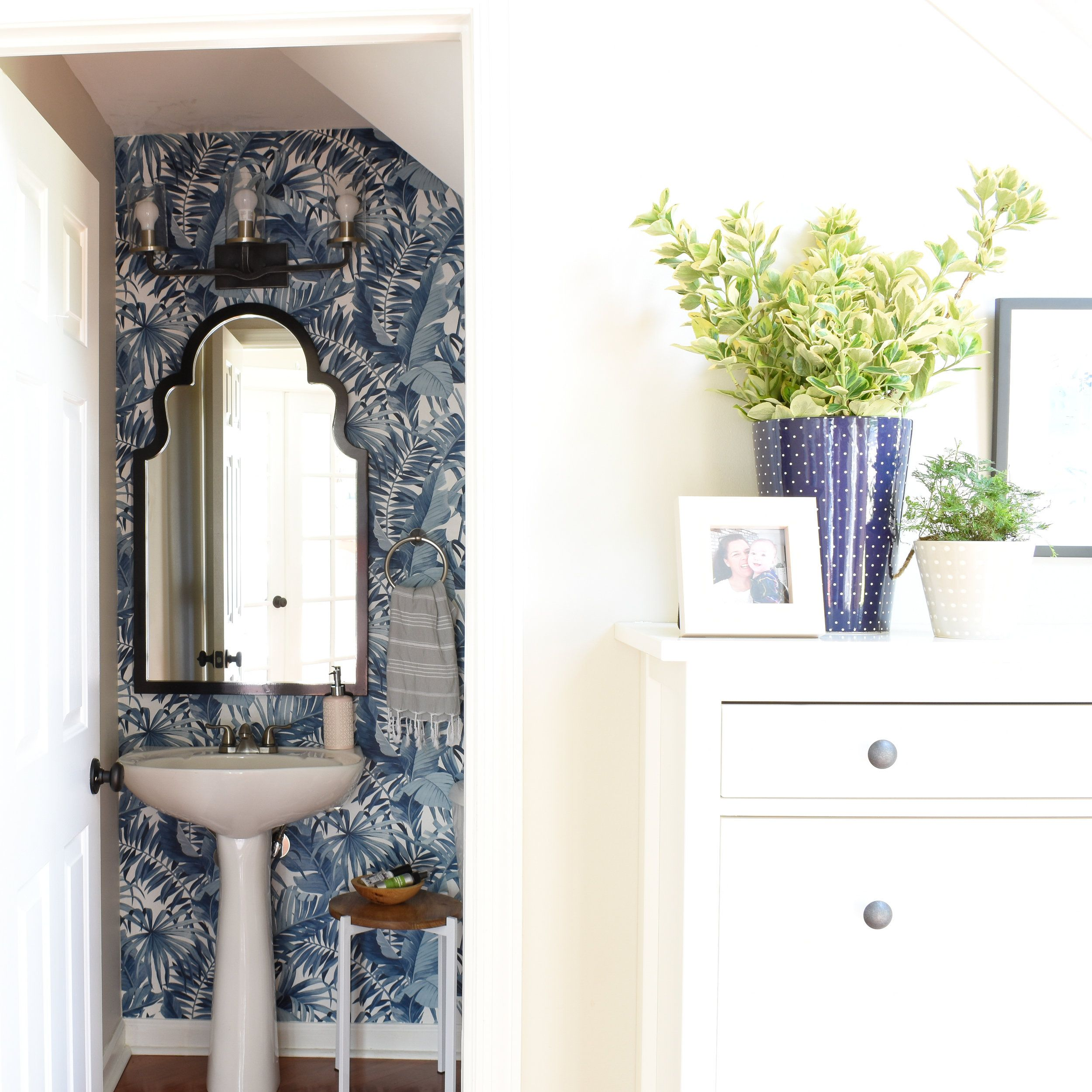 Powder Room Makeover With Wallpaper In 2020