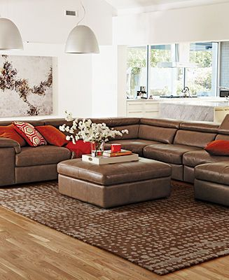 Gavin Leather Sectional Living Room Furniture Collection
