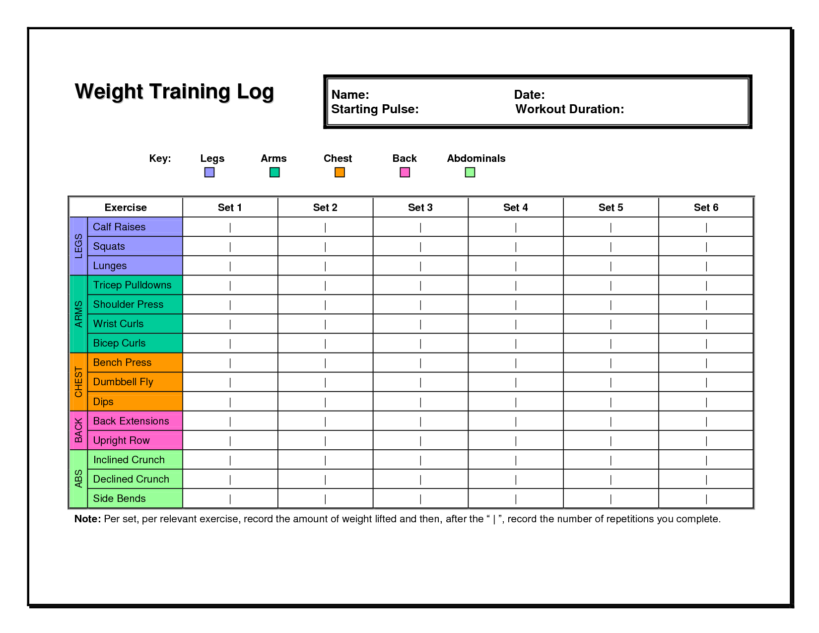 Workout Log Templates Doc  Workout    Workout Log