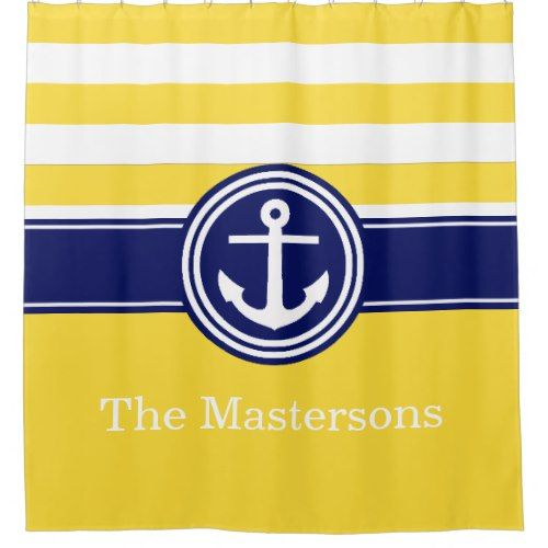 Pineapp Yellow Navy Blue Nautical Stripe Anchor CB Shower Curtain ...
